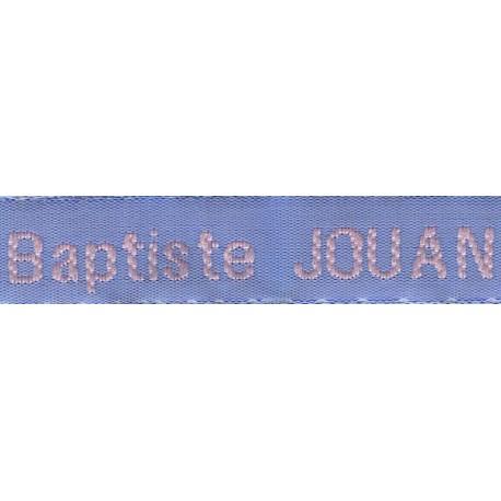 Etiquettes tissées Modèle Z - Ruban Bleu 12 mm - Lettrage Rose