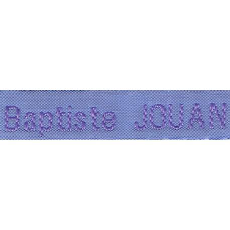 Etiquettes tissées Modèle Z - Ruban Bleu 12 mm - Lettrage Parme