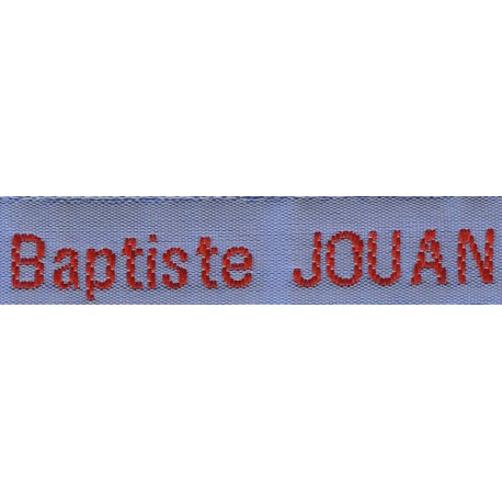 Woven labels, Model Z - Blue 12mm ribbon - Red lettering