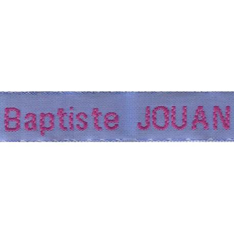 Etiquettes tissées Modèle Z - Ruban Bleu 12 mm - Lettrage Fushia