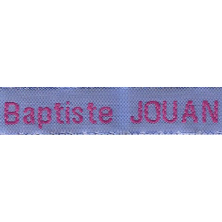 Woven labels, Model Z - Blue 12mm ribbon - Fuchsia lettering