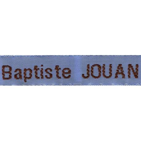 Woven labels, Model Z - Blue 12mm ribbon - Brown lettering