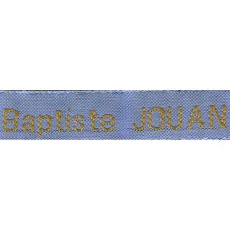 Woven labels, Model Z - Blue 12mm ribbon - Antique Gold lettering