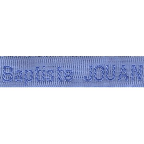 Woven labels, Model Z - Blue 12mm ribbon - Sky-blue lettering