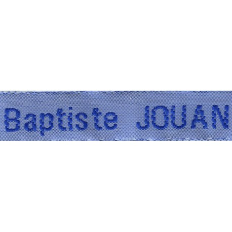 Etiquettes tissées Modèle Z - Ruban Bleu 12 mm - Lettrage Roy