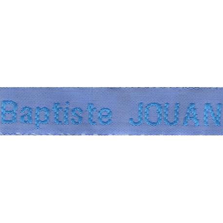 Etiquettes tissées Modèle Z - Ruban Bleu 12 mm - Lettrage Turquoise