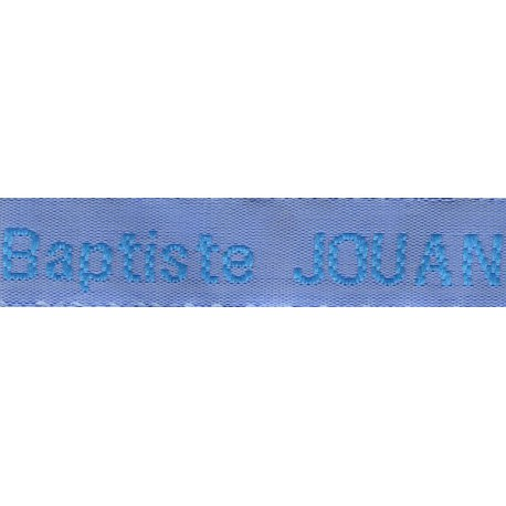 Woven labels, Model Z - Blue 12mm ribbon - Turquoise lettering