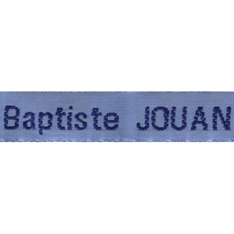 Etiquettes tissées Modèle Z - Ruban Bleu 12 mm - Lettrage Marine