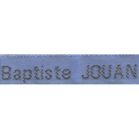 Woven labels, Model Z - Blue 12mm ribbon - Grey lettering