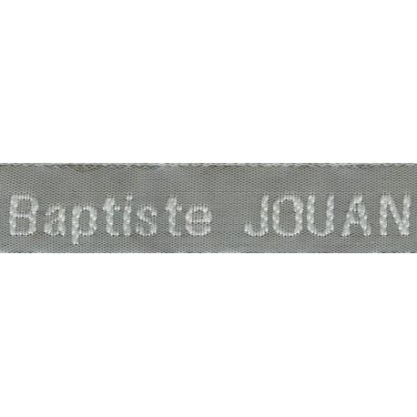 Woven labels, Model Z - Grey 12mm ribbon - White lettering