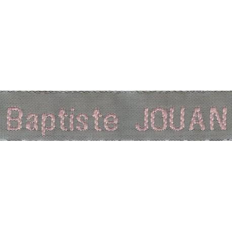 Woven labels, Model Z - Grey 12mm ribbon - Pink lettering