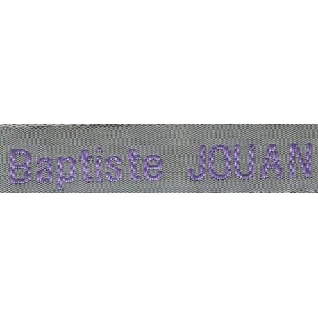 Woven labels, Model Z - Grey 12mm ribbon - Violet lettering