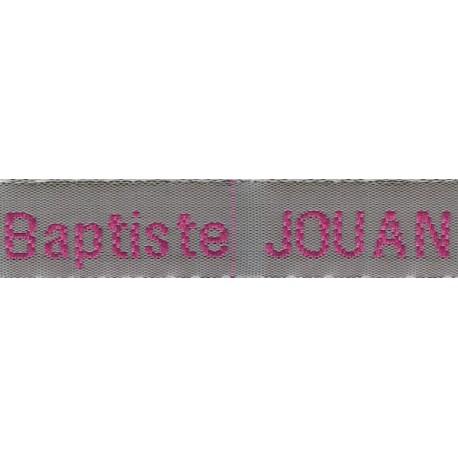 Woven labels, Model Z - Grey 12mm ribbon - Fuchsia lettering