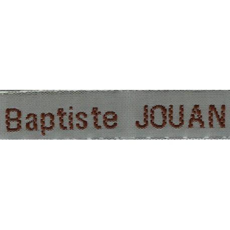 Etiquettes tissées Modèle Z - Ruban Gris 12 mm - Lettrage Marron