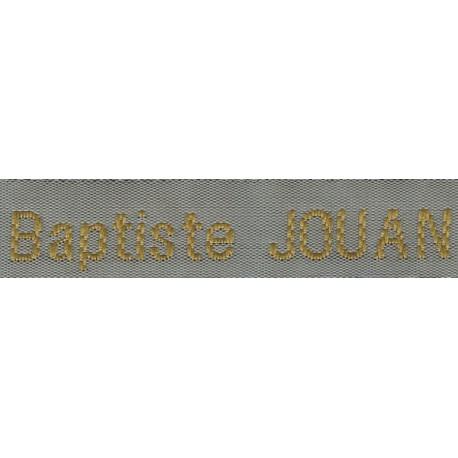 Etiquettes tissées Modèle Z - Ruban Gris 12 mm - Lettrage Vieil Or