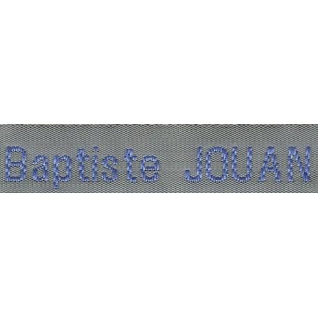 Woven labels, Model Z - Grey 12mm ribbon - Sky-blue lettering