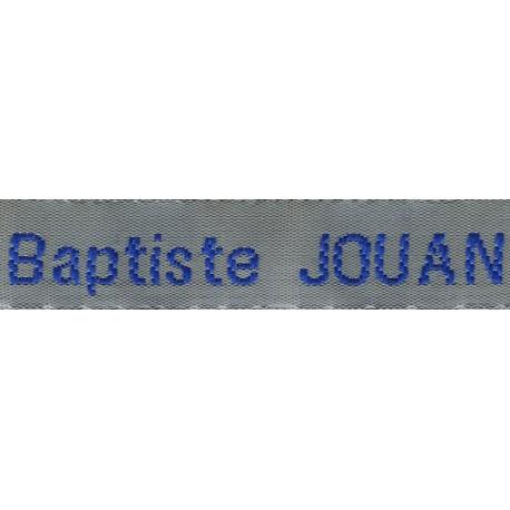 Woven labels, Model Z - Grey 12mm ribbon - Royal blue lettering