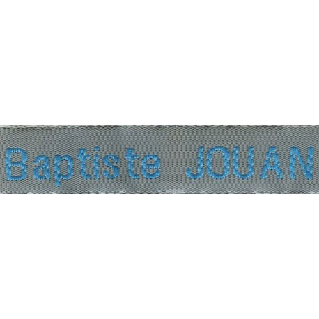 Woven labels, Model Z - Grey 12mm ribbon - Turquoise lettering
