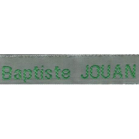 Woven labels, Model Z - Grey 12mm ribbon - Green lettering