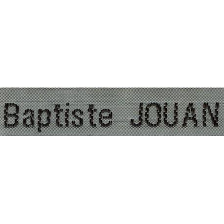 Etiquettes tissées Modèle Z - Ruban Gris 12 mm - Lettrage Noir