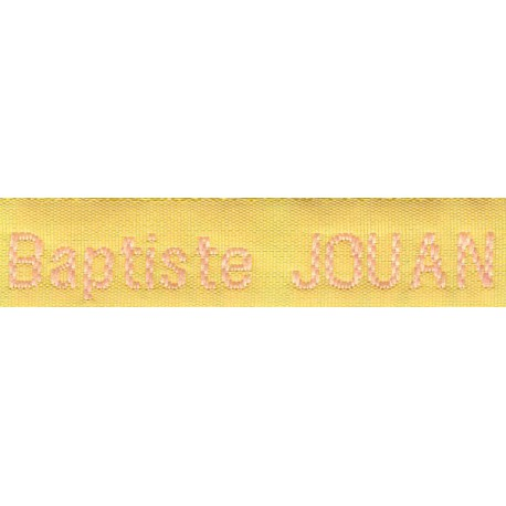 Woven labels, Model Z - Yellow 12mm ribbon - Pink lettering