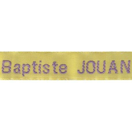 Woven labels, Model Z - Yellow 12mm ribbon - Violet lettering