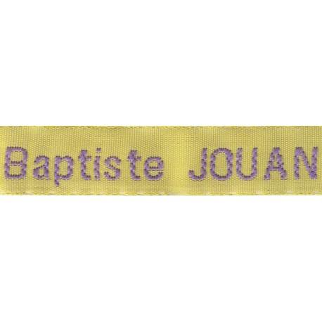 Woven labels, Model Z - Yellow 12mm ribbon - Violet lettering