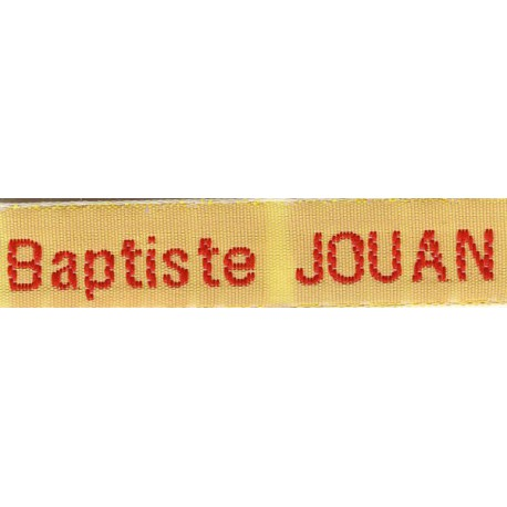 Woven labels, Model Z - Yellow 12mm ribbon - Red lettering