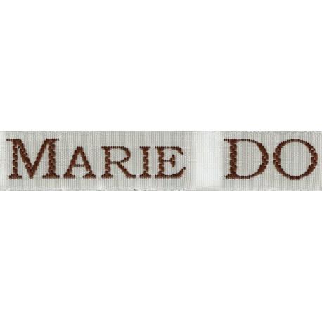 Etiquettes tissées Modèle S - Ruban Blanc 12 mm - Lettrage Marron