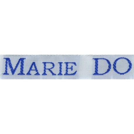 Woven labels, Model S - White 12mm ribbon - Royal blue lettering