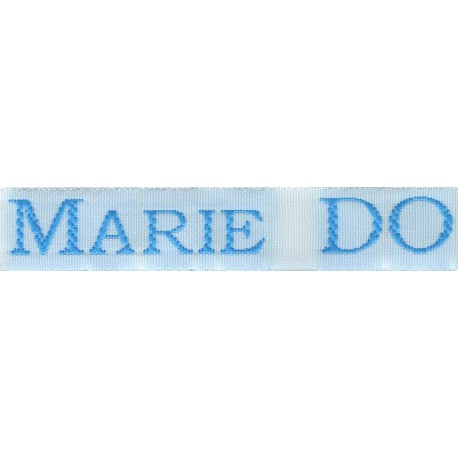 Woven labels, Model S - White 12mm ribbon - Turquoise lettering