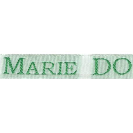 Woven labels, Model S - White 12mm ribbon - Green lettering