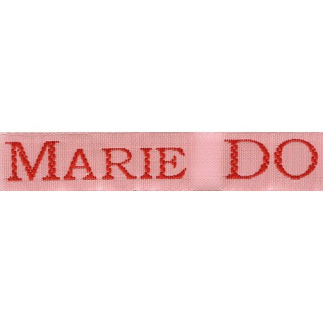 Woven labels, Model S - Pink 12mm ribbon - Red lettering