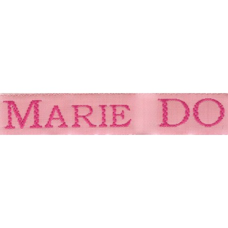 Woven labels, Model S - Pink 12mm ribbon - Fuchsia lettering