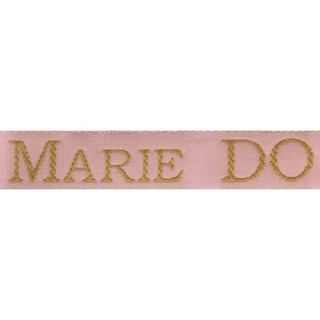 Woven labels, Model S - Pink 12mm ribbon - Antique Gold lettering