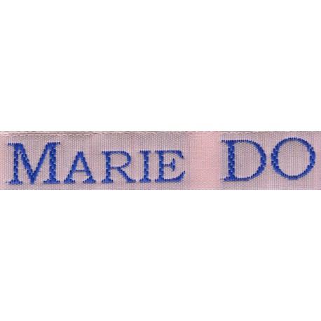 Woven labels, Model S - Pink 12mm ribbon - Royal blue lettering