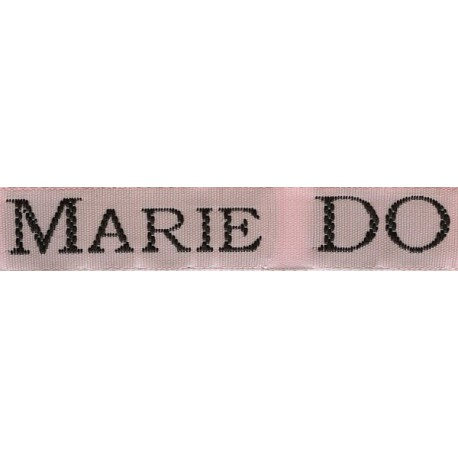 Woven labels, Model S - Pink 12mm ribbon - Black lettering