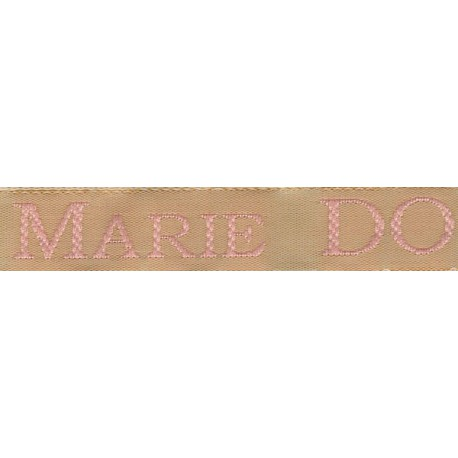 Woven labels, Model S - Beige 12mm ribbon - Pink lettering