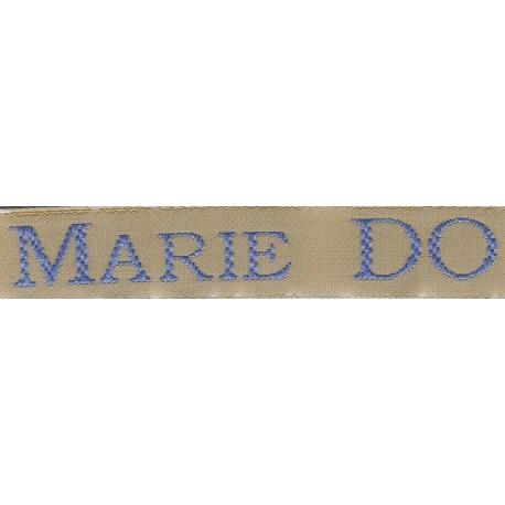 Woven labels, Model S - Beige 12mm ribbon - Sky-blue lettering
