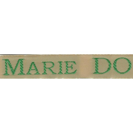 Woven labels, Model S - Beige 12mm ribbon - Green lettering