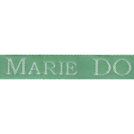 Woven labels, Model S - Green 12mm ribbon - White lettering