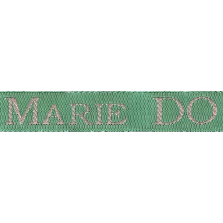 Woven labels, Model S - Green 12mm ribbon - Pink lettering