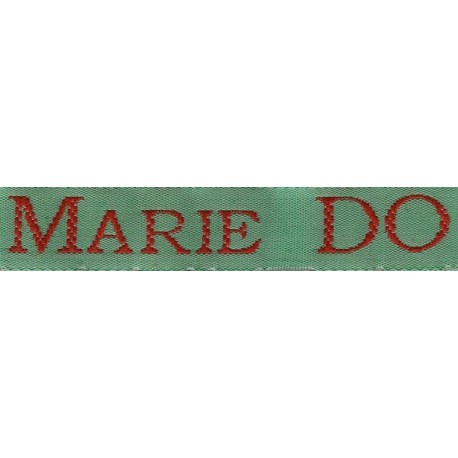 Woven labels, Model S - Green 12mm ribbon - Red lettering