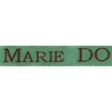 Woven labels, Model S - Green 12mm ribbon - Brown lettering