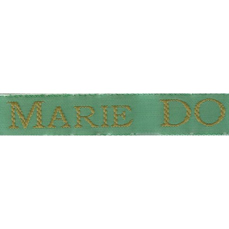 Woven labels, Model S - Green 12mm ribbon - Antique Gold lettering