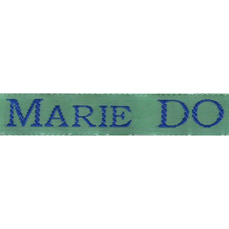 Woven labels, Model S - Green 12mm ribbon - Royal blue lettering