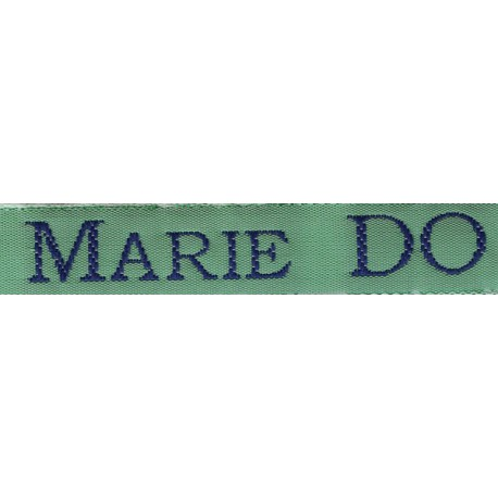 Woven labels, Model S - Green 12mm ribbon - Navy lettering