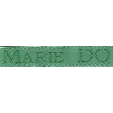 Woven labels, Model S - Green 12mm ribbon - Green lettering
