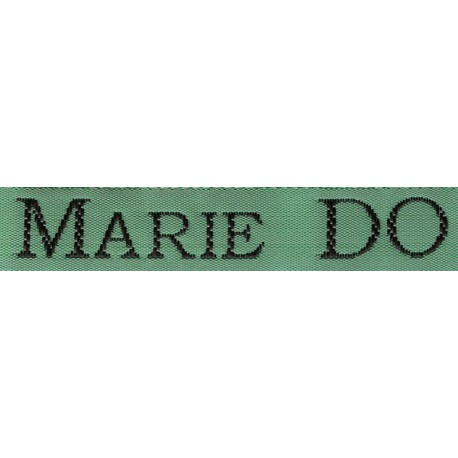Woven labels, Model S - Green 12mm ribbon - Black lettering