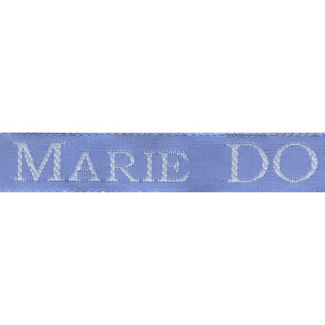 Woven labels, Model S - Blue 12mm ribbon - White lettering
